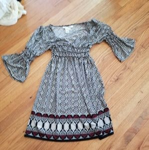 Bell sleeved black and white dress